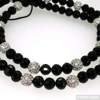 10mm Black and Silver Discoball Hip Hop Chain Necklace With 15 Iced