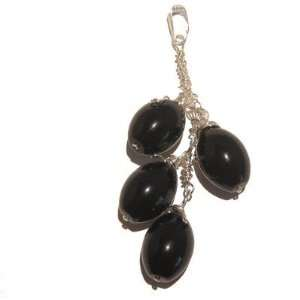 Crystal Black Silver Wire Wrap Puff Oval Stone Protection 3 Jewelry