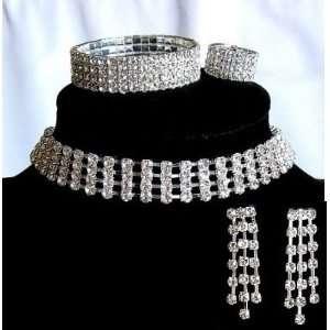 Bridal Wedding Prom 4 rows Crystal Rhinestone Necklace Earring Ring
