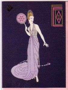 ERTE 2 Notecards FEDORA FAN Pink Fashion Art Deco Card