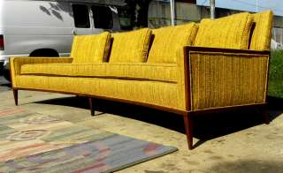 1950s CURVED SOFA PAUL MCCOBB WALNUT TRIM MID CENTURY MODERN 102