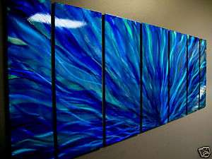 Abstract Hand Painted Metal Wall Art Decor Sculpture Blue Plumage