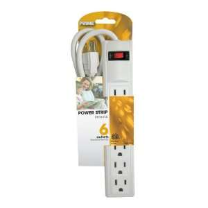 Prime PB801124 6 Outlet Power Strip with 3 foot cord