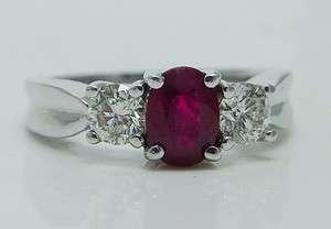 Estate Jewelry 14K White Gold .60ct VVS GH diamond 1ct Ruby Ring Band