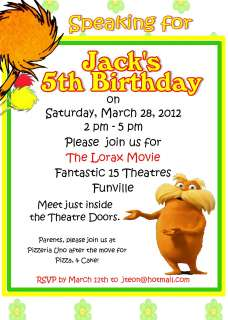 The Lorax Invitation Birthday Party Organization Event Movie Dr. Suess