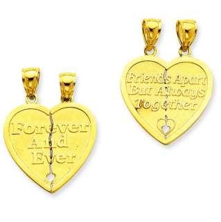 14k Reversible Forever & Ever 2 Pc Heart Charm Pendant