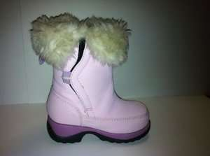 Lands End Toddler/Girls Pink Snow Boots w/Fur Size 6M