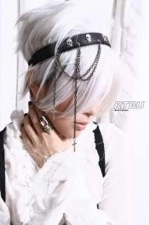 Gothic Punk Metal Skull Crown Leather Like Zipper Headband Headdress