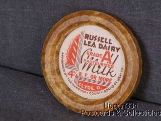 Vintage Russell Lea Dairy Clyde Ohio Milk Bottle Cap