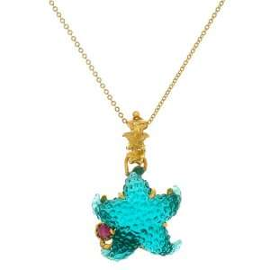 14k Yellow Gold Blue Green Starfish and Pink Tourmaline Pendant, 18