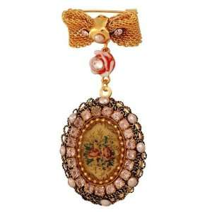 Outstanding 24 Karat Gold Plated Brooch Decorated with Tapestry Roses