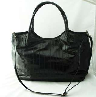 EEL SKIN TOTE BAG SHOULDER & CROSSBODY BAG PURSE Black