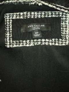ANN TAYLOR Black/Gray Tweed Virgin Wool Jacket Blazer Petite Sz 8P