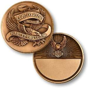 Harley Davidson Live To Ride, Eagle Bronze Antique Coin