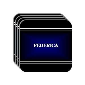 Personal Name Gift   FEDERICA Set of 4 Mini Mousepad Coasters (black