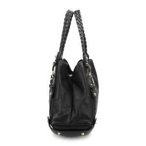 GUCCI BLACK LAMBSKIN LEATHER PELHAM HOBO SHOULDER TOTE BAG