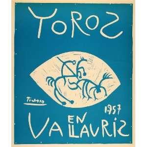 1971 Print Picasso Picador Bull Toros en Vallauris 1957