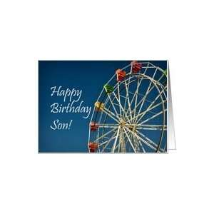 Ferris Wheel Carnival Colorful Fun Happy Birthday Son Card