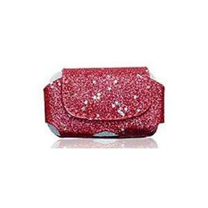 Premium Red Sparkle Glitter Leather Case Cover Pouch Protector (with