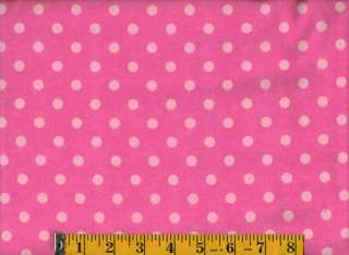 Bright Pink Polka Dot Flannel Fabric, David Textiles, BTY # 114