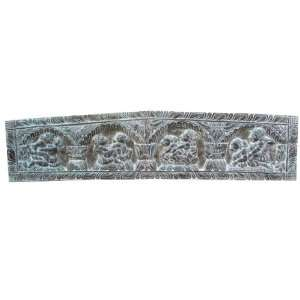 Antique Finish Kamasutra Hand Carved Wooden Headboard Wall Panel India