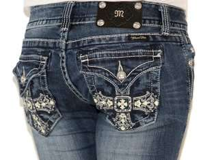 MISS ME JEANS Gothic Glam JP5046B10 Leather Cross Studded Rhinestone