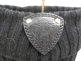 Gucci Black Leather/Knit Ribbed Pull On OTK Boots 39