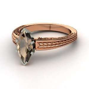 Marquise Ceres Ring, Marquise Smoky Quartz 14K Rose Gold Ring Jewelry