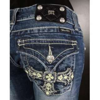 NWT MISS ME JEANS Boot Cut French Empire Cross with Leather