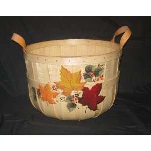 Half Bushel Basket Hand Painted with Autumn Leaves