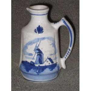 Vintage Delft Blue Holland WINDMILL & FLOWER 3 1/2 Inch