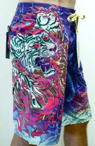 ED HARDY MENS BOARD SHORTS BLUE TIGER OF DEATH 34
