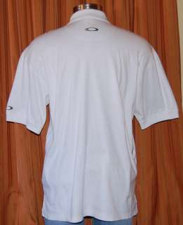 POLY OAKLEY WHITE COTTON CASUAL POLO SHIRT MENS LARGE