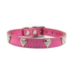 18 Metallic Pink Hearts Leather Dog Collar By Furry