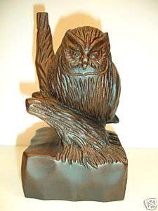NEW Hand Carved Wood Art Statue OWL Sculpture UNIQUE Carving
