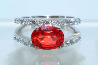 07CT OVAL CUT ORANGE SAPPHIRE & DIAMOND RING 14K WHITE GOLD & SIZE 6