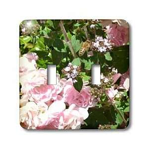 Patricia Sanders Flowers   Bee and Pink Roses   Light Switch Covers