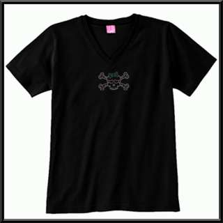 Rhinestones Girl Skull With Bow WOMENS SHIRTS S 2X,3X