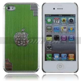 Green Bling Diamond Luxury Metal Aluminum Chrome Case Cover For iPhone