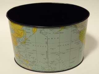 Vintage Pre WWII Era Tin Litho Oval World Map Globe Atlas Desk Pencil