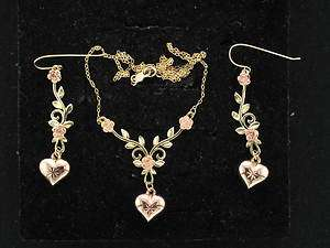 14k Gold Rose Colored Hearts & Vines 16 Inch Chain Necklace & Earrings