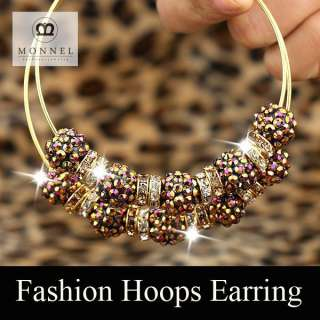 Basketball Wives Circle Hoops Earring Fashion Jewelry Beads Gold Tone