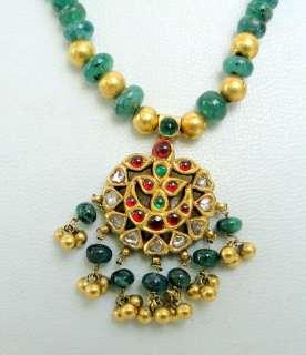 antique 22 K gold diamond necklace kundan emerald
