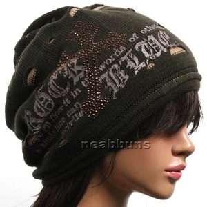Unisex chic Baggy BEANIE oversize slouchy Knit ski Hat Skull Cap Cross