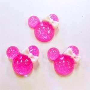 5pc Hot Pink Glitter Mouse Heads Flat Back Resins