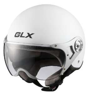 GLX Helmets Matte White Medium European Open Face Motorcycle Helmet