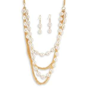 White Pearl Color Beads Gold Tone Necklace Earrings Set Jewelry