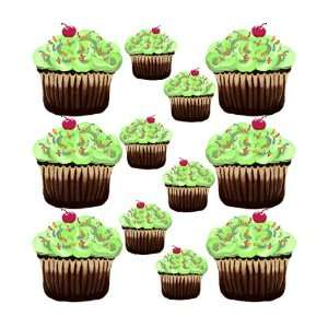 12 Green Cupcakes Mini Wall Stickers by Sherri Blum Baby