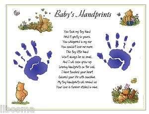 Classic Winnie the Pooh ~ BABY 1st Handprints Poem Print