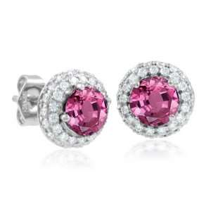 Natural Pink Sapphire and Diamond Earrings in 18k White Gold (G, SI2